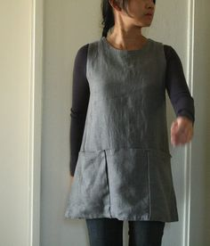 SAMPLE slate gray linen tunic. Size XS. womens linen by pamelatang