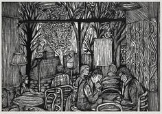 Linoprint | B&W Look, observe and make drawings, sketches and notes of different cafes interiors. Analyse the observational drawings and create lino prints.