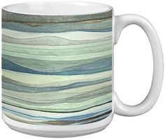 XM29586 Blossoms On Gray And Teal Themed Nel Whatmore Art Tree-Free Greetings Extra Large 20-Ounce Ceramic Coffee Mug