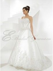 A-line Satin Embroidered Bodice Softly Curved Neckline Sweep Train Wedding Dresses (8596)