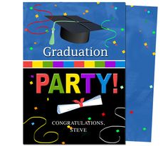 Graduation Party Invitations Templates: Confetti Graduation Party Announcement Template