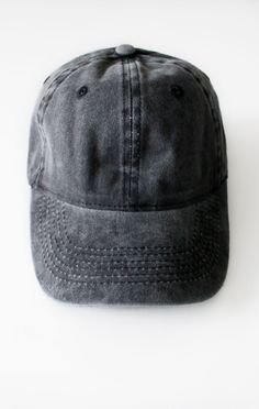 e9ce7bdfe9d Description Details  Vintage washed six panel cap in black with adjustable  back with tri