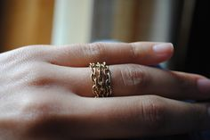 Textured link GoldRush rings by KDHJewelry on Etsy, $21.00