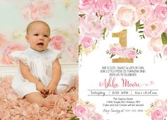 Pink Floral First Birthday Pink Watercolor Birthday Invitation, Flowers,Floral, Shower Invitation, Floral Invite, Flower Invite by MakinMemoriesOnPaper on Etsy https://www.etsy.com/listing/294019059/pink-floral-first-birthday-pink