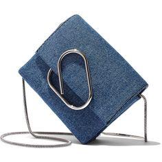 3.1 Phillip Lim Denim 'Alix' Crossbody Bag ($550) ❤ liked on Polyvore featuring bags, handbags, shoulder bags, washed indigo, blue crossbody, crossbody shoulder bag, blue shoulder bag, denim handbags and blue crossbody purse
