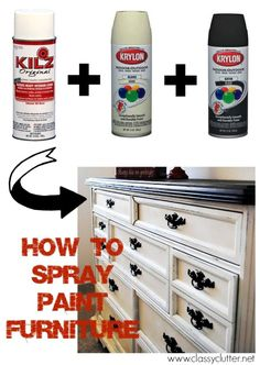 How to Spray Paint Furniture - You can find Spray painting and more on our website.How to Spray Paint Furniture - Spray Paint Furniture, Old Furniture, Refurbished Furniture, Repurposed Furniture, Furniture Projects, Furniture Makeover, Home Projects, Furniture Refinishing, Spray Paint Wood
