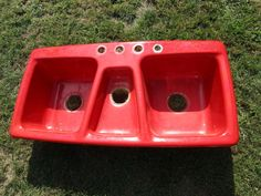 Vintage Art Deco Retro Cast Iron Red Three Basin Kitchen Sink Kohler Trieste