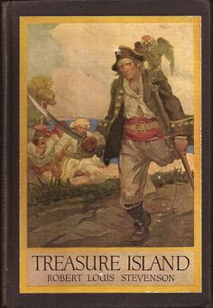 Treasure Island by Robert Louis Stevenson -- He gave us Long John Silver and 'Yo Ho Ho and a Bottle of Rum!' It's such a great classic adventure story. Long John Silver, Old Books, Antique Books, Vintage Books, Robin Hobb, I Love Books, Great Books, Caricature, Treasure Island Robert Louis Stevenson