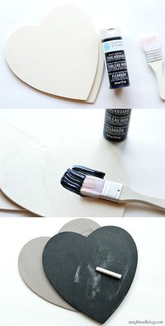 Make adorable Chalkboard Conversation Hearts with #MarthaStewartCrafts Chalkboard Paints! #12monthsofmartha