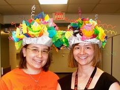 Super cool hat project with newspaper and tissue - good for costume lesson & character work