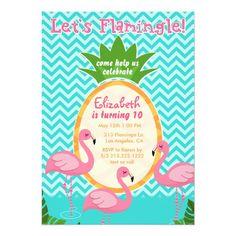 Let's Flamingle Tropical Birthday Invitation