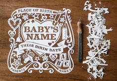 Welcoming a New Baby. Beautiful Personalised Handcut Papercut. Made to Order.