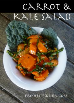 Carrot and Kale Salad with Harissa from FreshBitesDaily.com