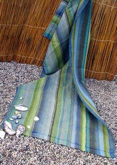 Hand woven beach towel. Beautiful colors. Linen, cottolin