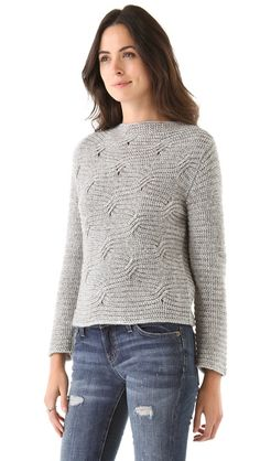 LOMA Patsy Sweater knit across. Arms separate but also across.