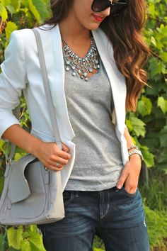 bold necklace with simple outfit