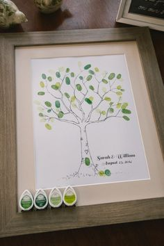 Thumb print leaf guest book
