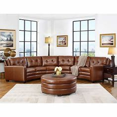 Suni 5-piece Top Grain Leather Curved Living Room Sectional Set with Ottoman