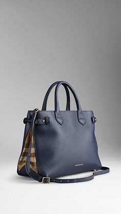 Burberry Medium Banner in Leather and House Check in Midnight Blue or Nude Blush $1495