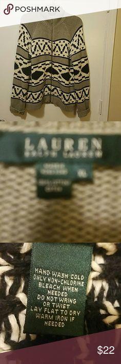 Ralph Lauren Zip Up Cardigan Size XL ,  minimal wear. Color black, gray, and cream.  100% cotton. Ralph Lauren Sweaters Cardigans
