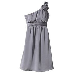 Tevolio Women's Plus Size Satin OneShoulder Rosette Bridesmaid Dress Cement 26W