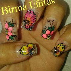 58 Ideas Nails Verano 2018 For 2019 Rose Gold Nails, Yellow Nails, Red Nails, Butterfly Nail Designs, French Tip Nail Designs, Gel Nails French, Fingernail Designs, Nail Effects, Pretty Nail Art