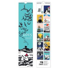 Moomin Calendar for 2015 including 12 dispatchable post cards. Beautiful design with lots of colour. Size: 48 x 10,5 cm.