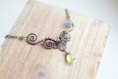 Wire wrapped hammered oxidized antiqued hammered by SabiKrabi, $38.00