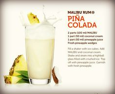 Not the best pina colada recipe. I tweaked it and discovered bliss. shots Malibu Coconut Rum shots pineapple juice 1 cup vanilla ice cream Blend til smooth and garnish with fresh pineapple and cherry Malibu Rum Drinks, Pina Colada Malibu, Beach Drinks, Liquor Drinks, Summer Drinks, Virgin Pina Colada, Alcoholic Beverages, Summer Bbq, Refreshing Drinks