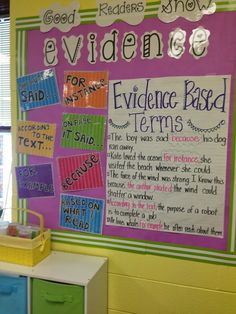 Good Readers Show Evidence- great bulletin board to encourage students to use evidence based terms to respond to their reading! {freebie posters included!} adapt for upper grades