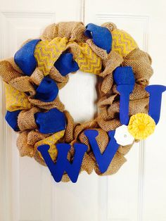 West Virginia Burlap Wreath WVU Blue & Yellow by Justalittlechic