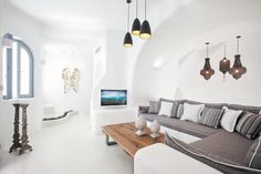 Not sure, where to stay in Santorini? Check these 10 stunning hotels and find the best place to stay in Santorini for your romantic getaway! Dana Villas Santorini, Santorini Hotels, Santorini Greece, Mykonos, Interior Design Photos, Interior Design Inspiration, Interior Ideas, Luxury Swimming Pools, Modern Office Design