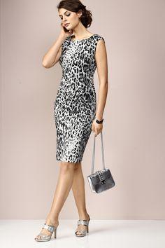 ALBA MODA Red Kleid im Leodessin allover mit überschnittener Schulter und  formstabiler Jersey-Qualität für eine perfekte Passform  ) 28c1714ce0