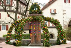 Easter fountain. Osterbrunnen by LiliGraphie on @creativemarket
