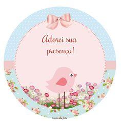 Passarinho Provençal Rosa e Azul – Kit digital gratuito – Inspire sua Festa ®