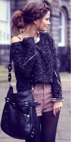 slouchy sweater + high waisted shorts + tights...i love this braided hair and the purse is so me