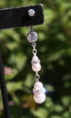 Belly Button Ring 2 Tier White Pearls N Rhinestones Wedding DeSIGNeR Piercing Accessory Sexy Romantic Honeymoon on Etsy, $25.00