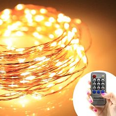 Homestarry® String Lights PRO/ 40Ft / 240 LED's Warm White/ Copper Wire/ Remote Control Dimmer/ Perfect for Indoor and Outdoor Environments -- Remote Control Feature Easily Regulates Your Lighting - Decor Light - 100% Satisfaction Guarantee. Homestarry http://www.amazon.com/dp/B00UKQUGXA/ref=cm_sw_r_pi_dp_fdspvb1670EMF