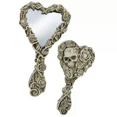 Skull and Floral Embellished Heart Shaped Hand Mirror - RebelCircus.com