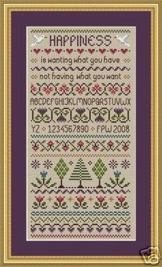 Happiness Cross Stitch Sampler PDF Chart by littledovesamplers, £5.00
