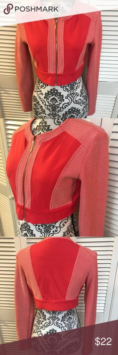 Bebe short jacket Brand new without tags  Size small  Shades of red in color with gold full zip  Has stretch bebe Jackets & Coats