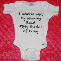 Cute Funny Baby Onesie Inspired by Fifty Shades of Grey Book Baby Shirt 9 months ago Mommy Red 50 Shades