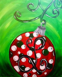 """Create your own unique ormanament with us on Dec. 13th ! Paint """"Monogrammed Ornamnet"""" with us at Swiftys. Save your seat here: http://ift.tt/2fPcZWu #knoxpaints #knoxrocks #knoxville"""