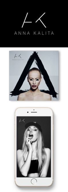 """Type-driven logo for a Russian makeup artist. The letters """"A"""" and """"K"""" are artistically """"cut off"""" to create a stylish and sophisticated lettermark. The brand identity is further supported by the use of the artists' portfolio photo pieces."""