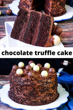 Chocolate Truffle Cake is a moist chocolate layered cake Lindt Chocolate Truffles, Chocolate Truffle Cake, Chocolate Sprinkles, Cake Truffles, Cupcakes, Cake Receipe, Cooking Recipes, Grandma's Recipes, Drink Recipes