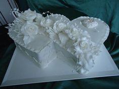 Biele svadobné dvojsrdce Pastel, Cake, Desserts, Food, Pie Cake, Meal, Cakes, Deserts, Essen
