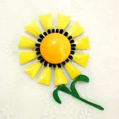 Vintage Enamel Sunny Yellow Flower Brooch
