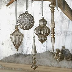 Mercury glass vintage style ornaments---use Krylon mirror glass spray on old/cheap ornaments