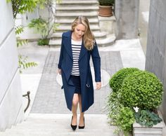 Mixing Black and Navy: Long Trench, Polka Dot Pencil SkirtMEMORANDUM, formerly The Classy Cubicle