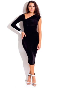 One shoulder long sleeve dress black